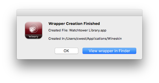Install Watchtower Library on Mac Using Wineskin Winery